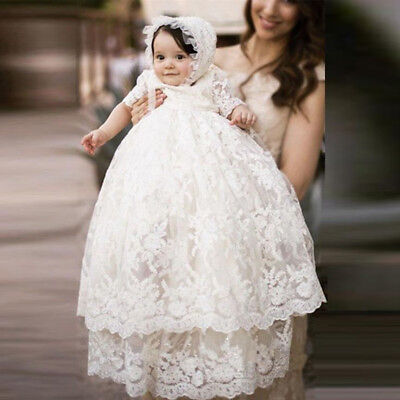 Vintage White Ivory Baby Girls Boys Christening Gown Lace Baptism Dress Toddler