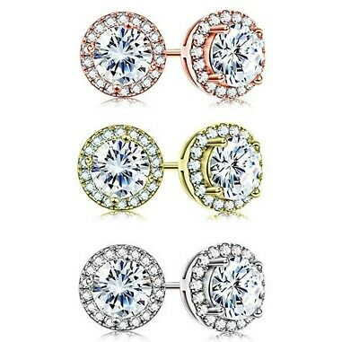 3.44 CT Halo Round Stud Earring with Swarovski Crystals ITALY- 3 Options Availab