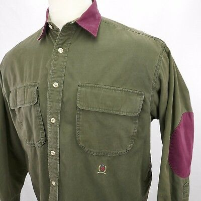 Tommy Hilfiger vintage 90s mens L-XL heavy flannel elbow patches army green D1