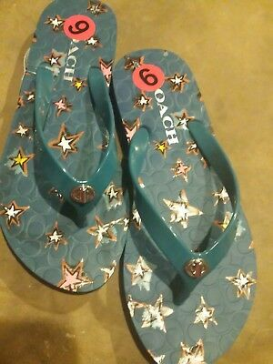 621e6d879f5 NEW Women s Coach Blue Abbigail Star Rubber Thong Flip Flops Size 6