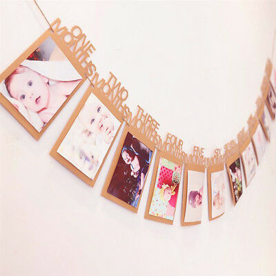 Baby 1st Birthday Recording 1-12 Month Photo Banner Bunting Garlands Party Decor