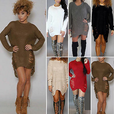 Women Long Sleeve Sweater Mini Jumpers Dress Winter Knitted Baggy Party Fit Tops
