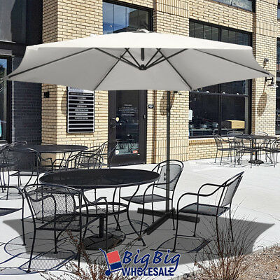 10ft Outdoor Patio Umbrella Offset Cantilever Hand Cranking Cross Base White