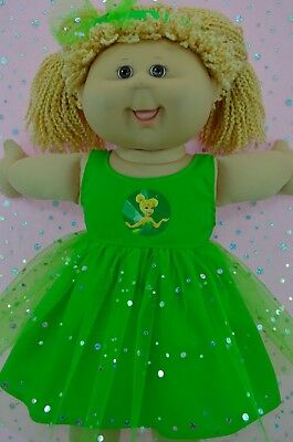 """Play n Wear Doll Clothes For 16"""" Cabbage Patch  LIME SEQUIN DRESS~HEADBAND"""