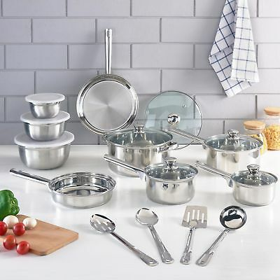 Cookware Set Stainless Steel Kitchen Cooking Pots Pans Tools Bowls Lids 18-Piece
