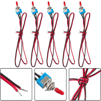 5PCS Car/Truck SPST Security Alarm Pre-Wired On/Off Mini Toggle Switch US Stock