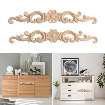 1 Pcs Wood Carved Decal Wooden Figurines Wall Doors Decoration Appliques Frame