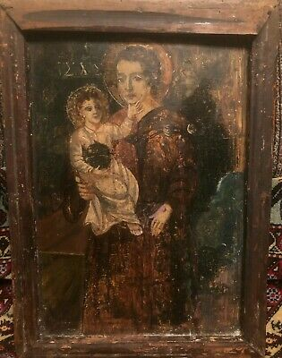 Ikonworld: Antique 17-18C Greek Hand Painted Icon Of Mother Of God