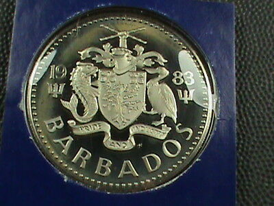 BARBADOS   2 Dollars  1983  PROOF ( RARE ) , $ 2.99  maximum  shipping  in  USA