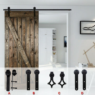 4-16FT Black Sliding Barn Wood Door Hardware System Kit For Single/Double/Bypass