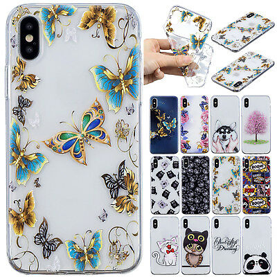 For iPhone X 8 Plus Rubber Case 7 Patterned Shockproof TPU Slim Phone Skin Cover