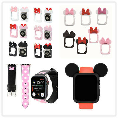 cd0e91652 Minnie Mickey Case for Apple Watch iWatch Band Series 4 3 2 1 Leather Band  Cover