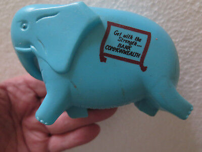 COMMONWEALTH SAVINGS BANK PLASTIC ELEPHANT MONEY BANK MONEY BOX c1970