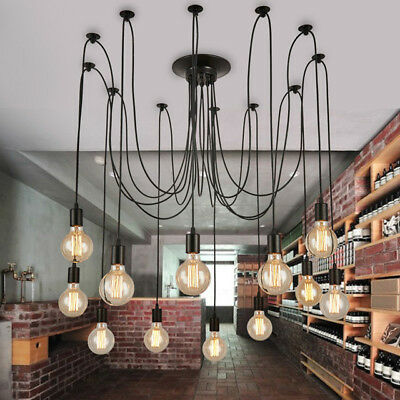 12 Heads Vintage Industrial Pendant Ceiling Edison Lamp Light Chandeliers NEW