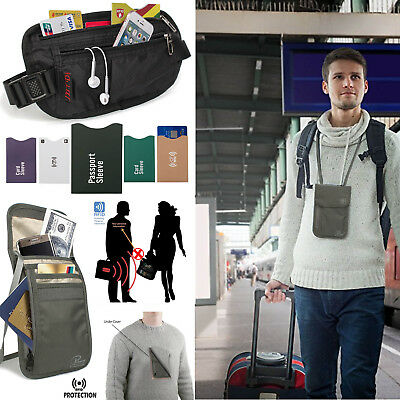 Travel RFID Blocking Passport Neck Pouch Bag + Wallet Belt Bag with Card Sleeve