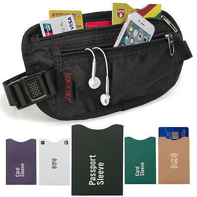 Money Belt For Travel With RFID Blocking Sleeves Set (1xPassport, 4xCredit card)