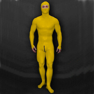 Latex 100%  Anzug Rubber Gummi Yellow Bodysuit Catsuit Whole Body Unisex S-XXL