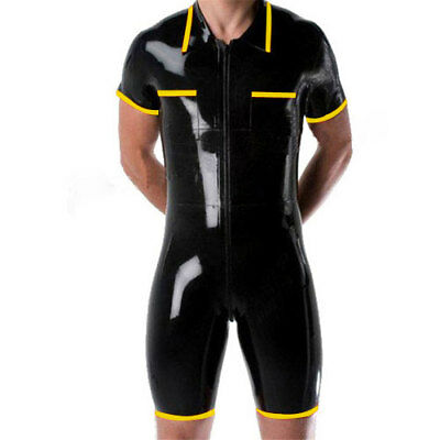 Latex Rubber Gummi Short Sleeve Zipper Black with Yellow Suit Unisex Size S-XXL