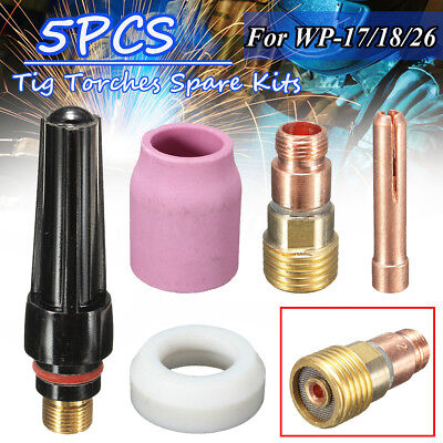 "5PCS TIG Welding Torch Collet Gas Lens 3/32"" 2.4mm Pyrex Cup Kit For WP-17/18/26"