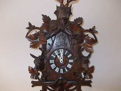 Large Antique Stags Head Cuckoo Clock (C1900)