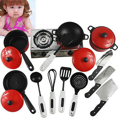 Kitchen Cooking Food Utensils Pans Pots Dishes Cookware Supplies Kids Play Toy