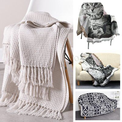 Geometric Bohemian Cat Animal Sofa Throw Covers Couch Lounge Chair Blanket Decor