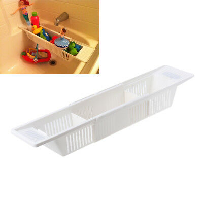 Bath Tub Toy Organizer Basket Adjustable White Storage Caddy Kids Baby Holder AU