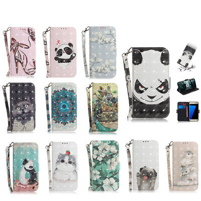 For Samsung Galaxy S7 S8 S9 Plus 3D Flip Leather Painted Wallet Card Case Cover