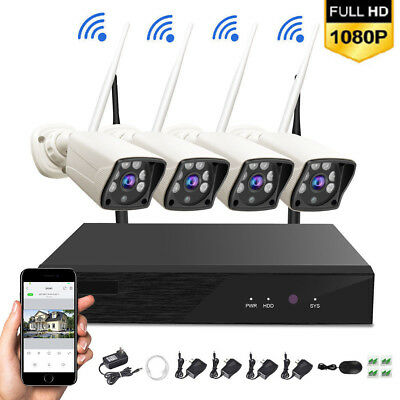 4CH 1080P NVR Wireless WiFi 4XCamera Outdoor Home Security CCTV System Kit