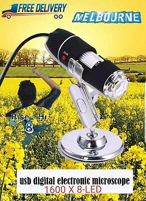 USB Digital Microscope Endoscope Magnifier Electronic Video Camera 1600x 8-LED