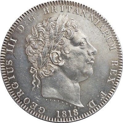 1818,George III, Crown LIX. About Uncirculated.