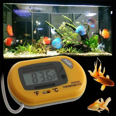 LCD Digital Fish Aquarium Thermometer Water Terrarium FREE Extra Batteries YS /k