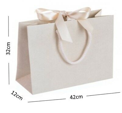 Ivory Vanilla Large Boutique Shop Ribbon Gift Bags - Rope Handle Events Bag