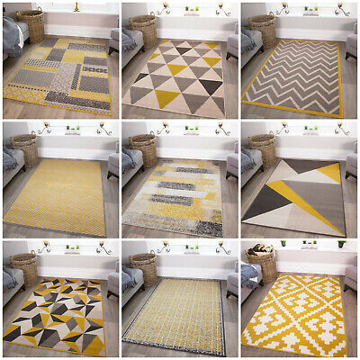 Ochre Yellow Living Room Rugs Mustard Geometric Shaggy Grey Rug Easy Living Mats