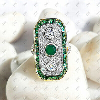 Art Deco Emerald Three Stone Vintage Antique Engagement Ring Silver Circa'1920
