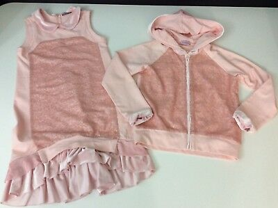 Monnalisa Outfit Set Hoodie & Dress Age 9 Years Vgc Girls Pink Velvet Sequin