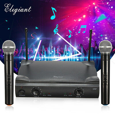 ELEGIANT Audio 2 Channel VHF Dual Handheld Wireless Microphone System Mic KTV