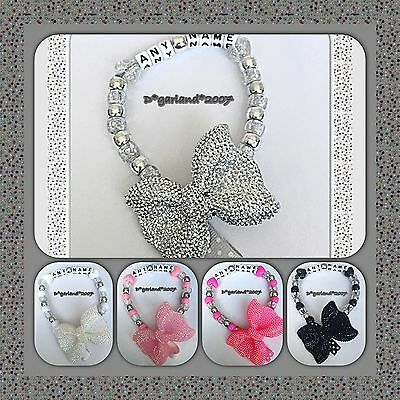 Personalised Dummy Saver Clip Bling sparkley Bow Black, Silver, Pink