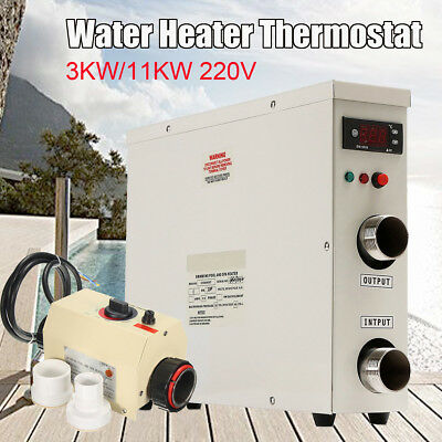220V 3KW/11KW Swimming Pool SPA Hot Tub Electric Water Heater Thermostat 50/60Hz