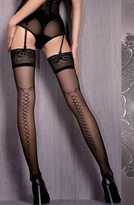 Ladies Ballerina 421 Black Luxury Patterned Lace top Hold Ups S/M L/XL Hosiery