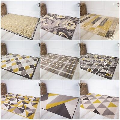 Ochre Yellow Mustard Geometric Rugs Soft Grey Non Shed Scandi Living Room Rug UK
