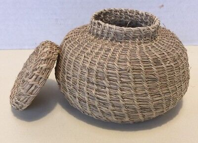 Antique Vintage Small 5 African Hand Woven Basket With Lid Collectible Art