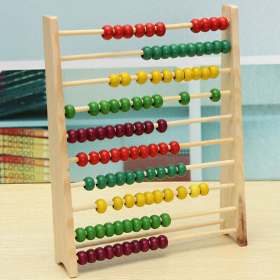 Wooden Abacus 100 Beads Counting Number Preschool Kid Math Learning Teaching