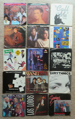 Lot 80s 45 record lot with sleeves  Wang Chung Wham Blondie Cheers Survivor MORE