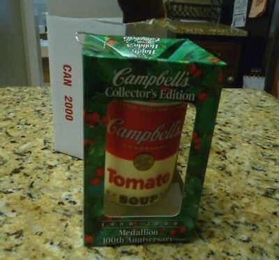New 2000 Campbell's Tomato Soup Can Collector's Edition 100th Christmas ornament