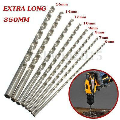 6-16mm Extra Long 350mm HSS Twist Drill Straigth Shank Auger Drilling Bit Tool