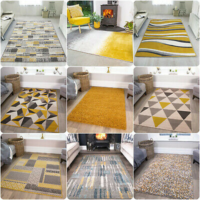 Ochre Mustard Living Room Rug Soft Warm Yellow Grey Geometric Rugs Best Rugs UK