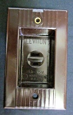 Vintage Leviton Recessed Clock Outlet Brown Bakelite Art Deco Ribbed Lines 15A