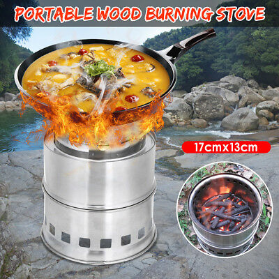 Outdoor Stove Camping Cooking Picnic Party BBQ Steel Wood Burner Alcohol Cooker
