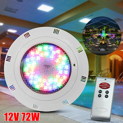 12V 72W LED Underwater Swimming Pool Light Lamp W/ Remote Control 7 Color RGB